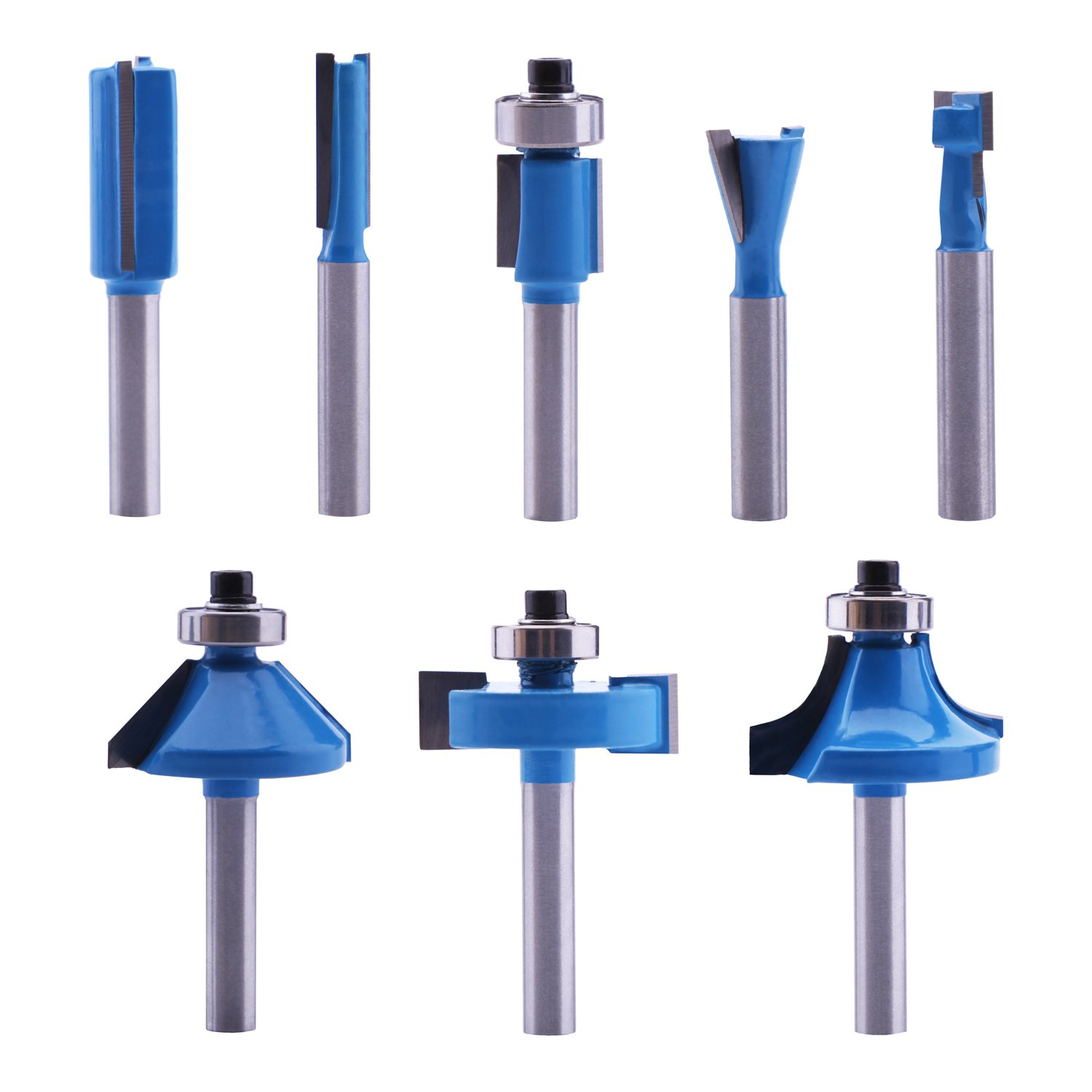 Carbide Tipped Router Bits (8 PCS) With 1/4'' Shank, Wood Milling Saw Cutter by LU&MN, All Purpose (For Woodwork, Cutting, Trimming Wood)
