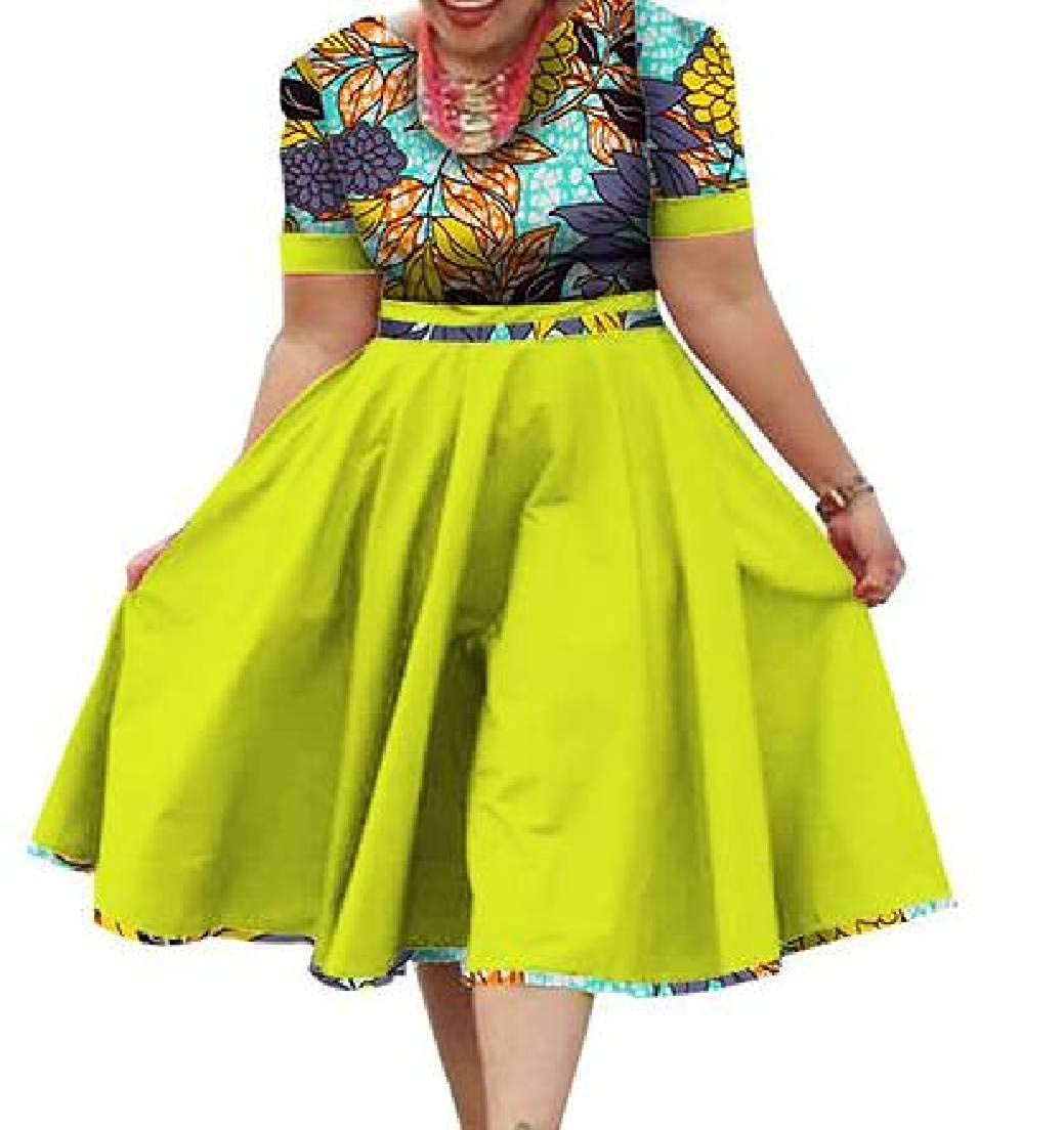10 JXG Women African Tribal Print Crew Neck Dashiki Short Sleeve ALine Midi Dress