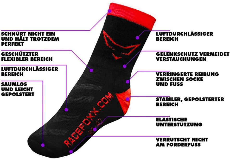 39-42 Sportsocken Socke Strumpf mit CoolPlus Racefoxx Motorrad Socken