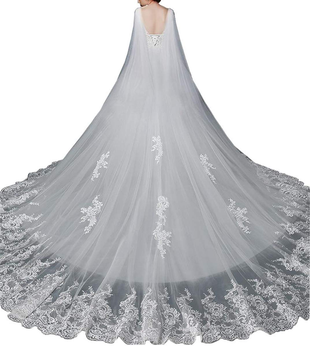 Stylish Tulle Cape Veil Cathedral Length Lace From Shoulder to Floor For Bridal 2018 (White, 5Meter)