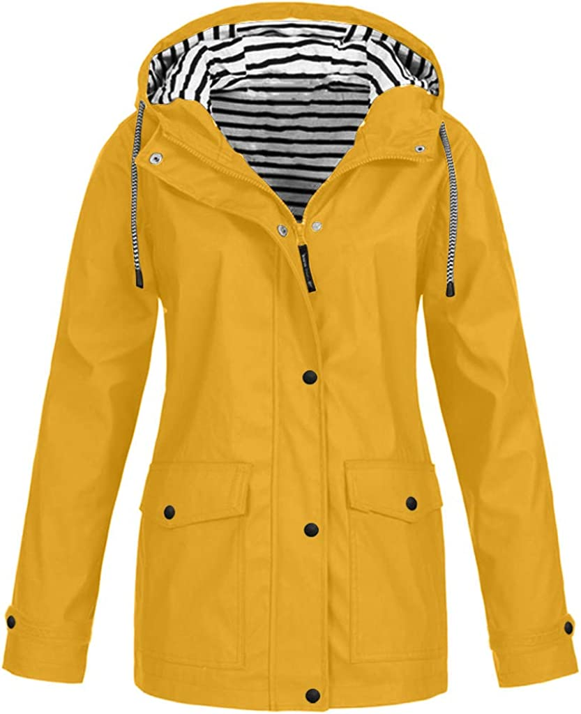 EINCcm Womens Drawstring Hooded Jacket Warm Winter Coats Faux Fur Lined Outwear Jacket Coat Outwear with Pocket