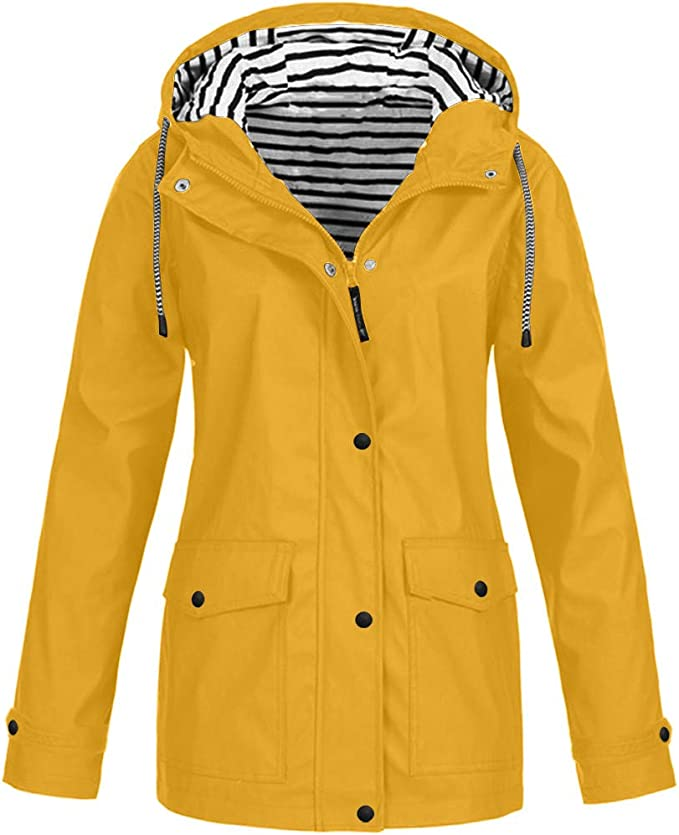 Mujer Solid Rain Outdoor Plus Impermeable con Capucha Impermeable ...