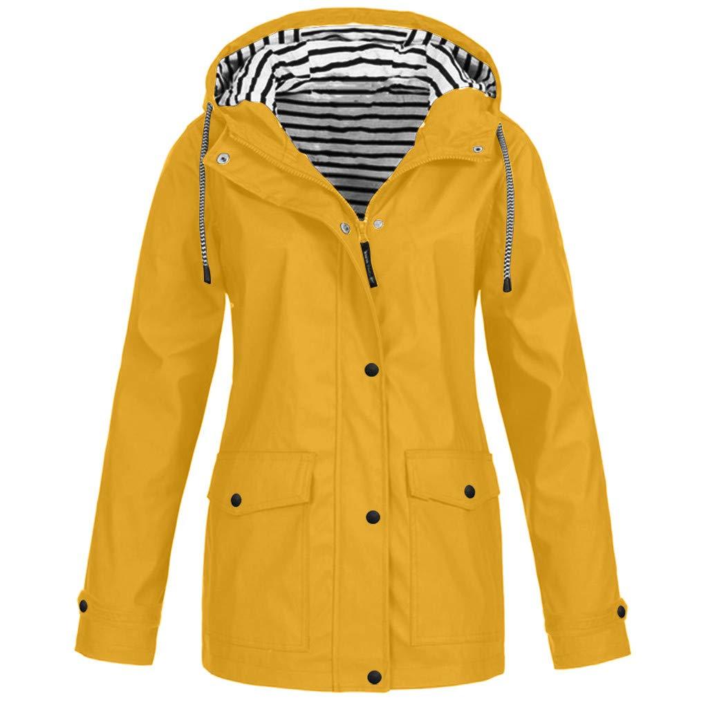 Women Raincoat with Hood Waterproof Striped Lined Active Outdoor Rain Jacket Windbreaker Hooded Trench Coats