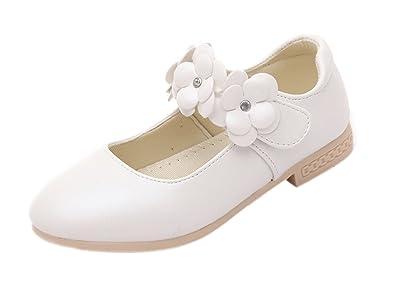 eb9e895ad39b66 Agares Kinder Ballerinas Mädchen Festliche Schuhe Weiß Kinderschuhe Blumen  für Party Hochzeit (31 Innerlänge 18.7