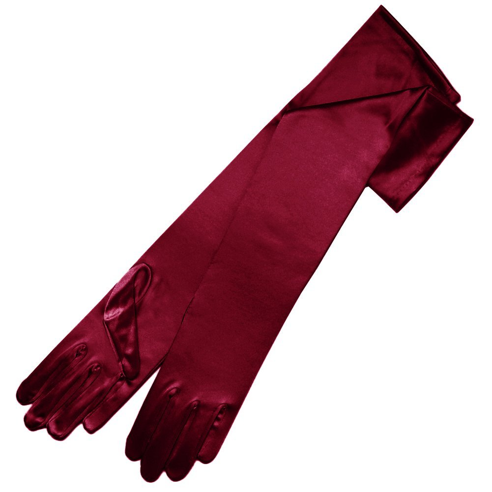 ZaZa Bridal 19'' Long Shiny Stretch Satin Dress Gloves 12BL OS Burgundy