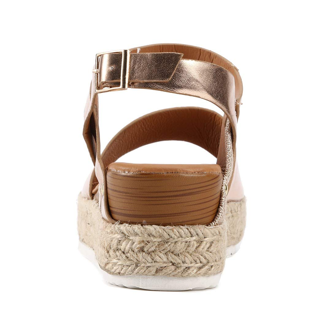 Sharemen Women's Open Toe Strappy Mid Wedge Heel Wood Decoration Buckle Shoes Sandals (Gold,US: 7.5) by Sharemen Shoes (Image #4)