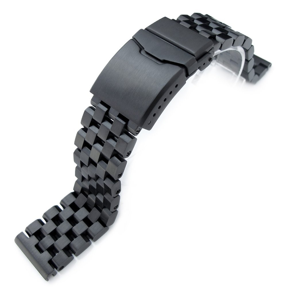 22mm Super Engineer II Solid SS Straight End Watch Band, Button Chamfer, PVD Black