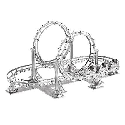 Navigatee Modelo ensamblado, metal estéreo 3D modelo ensamblado Modelo de juguete de montaña rusa de