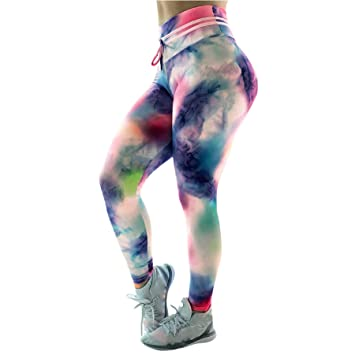 fcc5a73187693 Women Tie Dye Ruched Butt Lifting Yoga Pants Leggings High Waist Waistband  Workout Sport Fitness Gym Tights Push Up: Amazon.ca: Sports & Outdoors