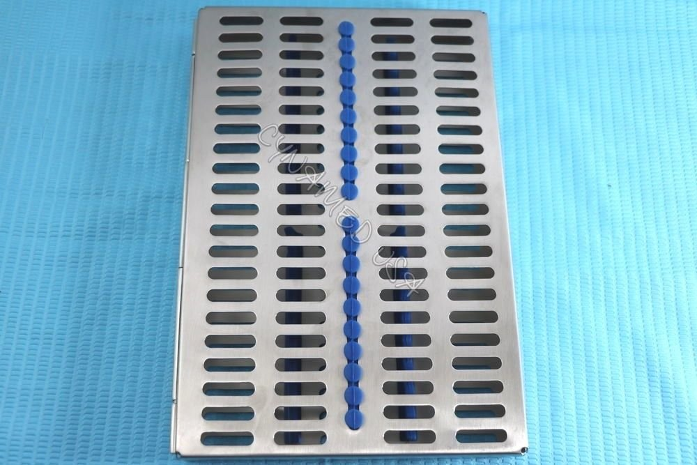 5 Heavy Duty German Dental Autoclave Sterilization Cassette Rack Box Tray for 20 Instrument Blue CYNAMED by CYNAMED (Image #4)