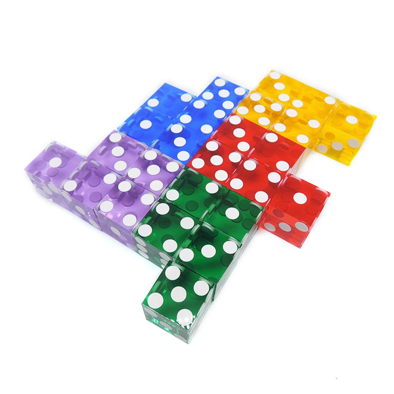 COLOR:Blue HIPENGYANBAIHU 5 Pieces Top Grade 19mm Casino Dice With The Edges And Serial Numbers Translucent Clear D6 Dice Real Dice