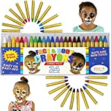 Joyin Toy 24 Colors Face Paint Safe & Non-Toxic Face and Body Crayons (Large Size 3') Ultimate Party Pack including 6 METALLIC Colors