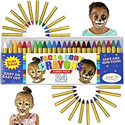 Joyin Toy 24 Colors Face Paint Safe & Non-toxic Face & Body Crayons (Large Size 3í) Ultimate Party Pack Including 6 Metallic Colors