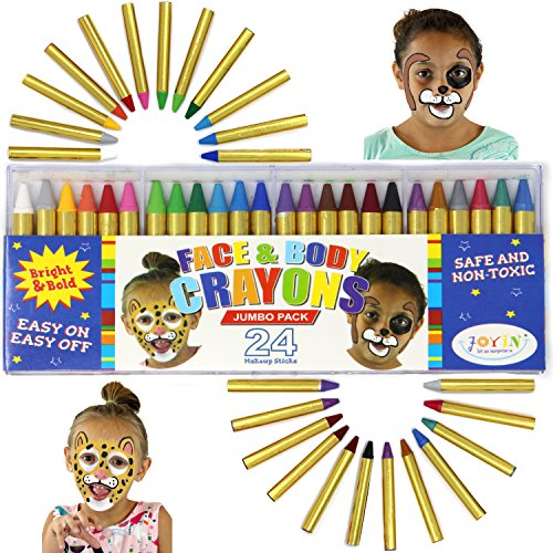 JOYIN 24 Colors Face Paint Safe & Non-Toxic Face and Body Crayons (Large Size 3 inch) Ultimate Party Pack Including 6 Metallic Colors for Superbowl Party ()