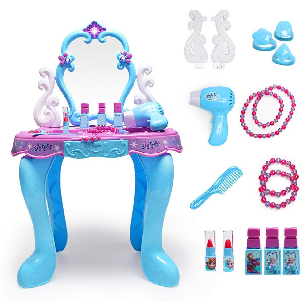 Girls Dressing Table Set Dressing Table Girl Dressing Table Girl Play House Set Princess Dressing Table (Color : Blue, Size : 6626.542CM)