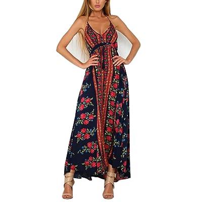 FFLMYUHULIU Women's Halter Backless Sexy V-Neck Beach Party Floral Maxi Dress
