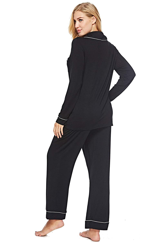 EFINNY Pajama Set for Women Long Sleeve Button-Down Soft Pj Set Sleepwear  Notch Collar Loungewear Cotton Fit Elastic Pants at Amazon Women s Clothing  store  dde45d16c