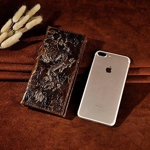Le'aokuu Cartera de moda para hombre monedero de piel auténtica Organizadores de bolsos rayado de tigre (marrón) café oscuro