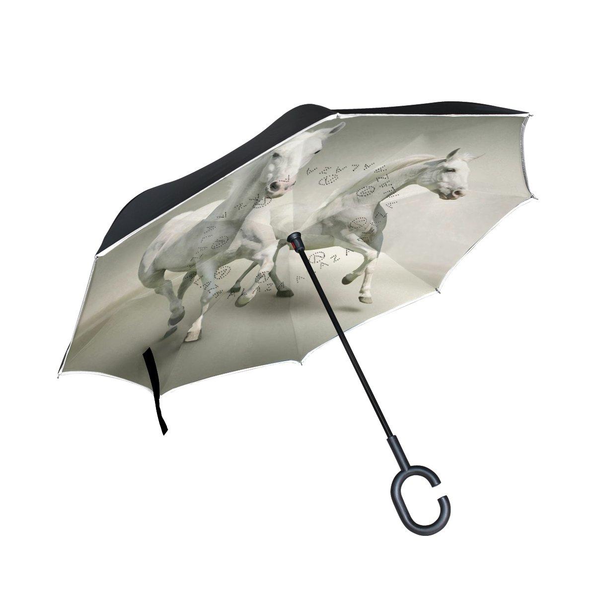 8e195e7eb4 new Horse Pattern Print Inverted Umbrella Double Layer Windproof ...