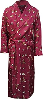 L A Smith Men's Stylish Pure Silk Dressing Gown, Wine With Pheasant Print