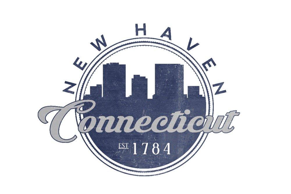 New Haven、Connecticut – Skylineシール(ブルー) 36 x 54 Giclee Print LANT-67377-36x54 36 x 54 Giclee Print  B01MFBDQT7