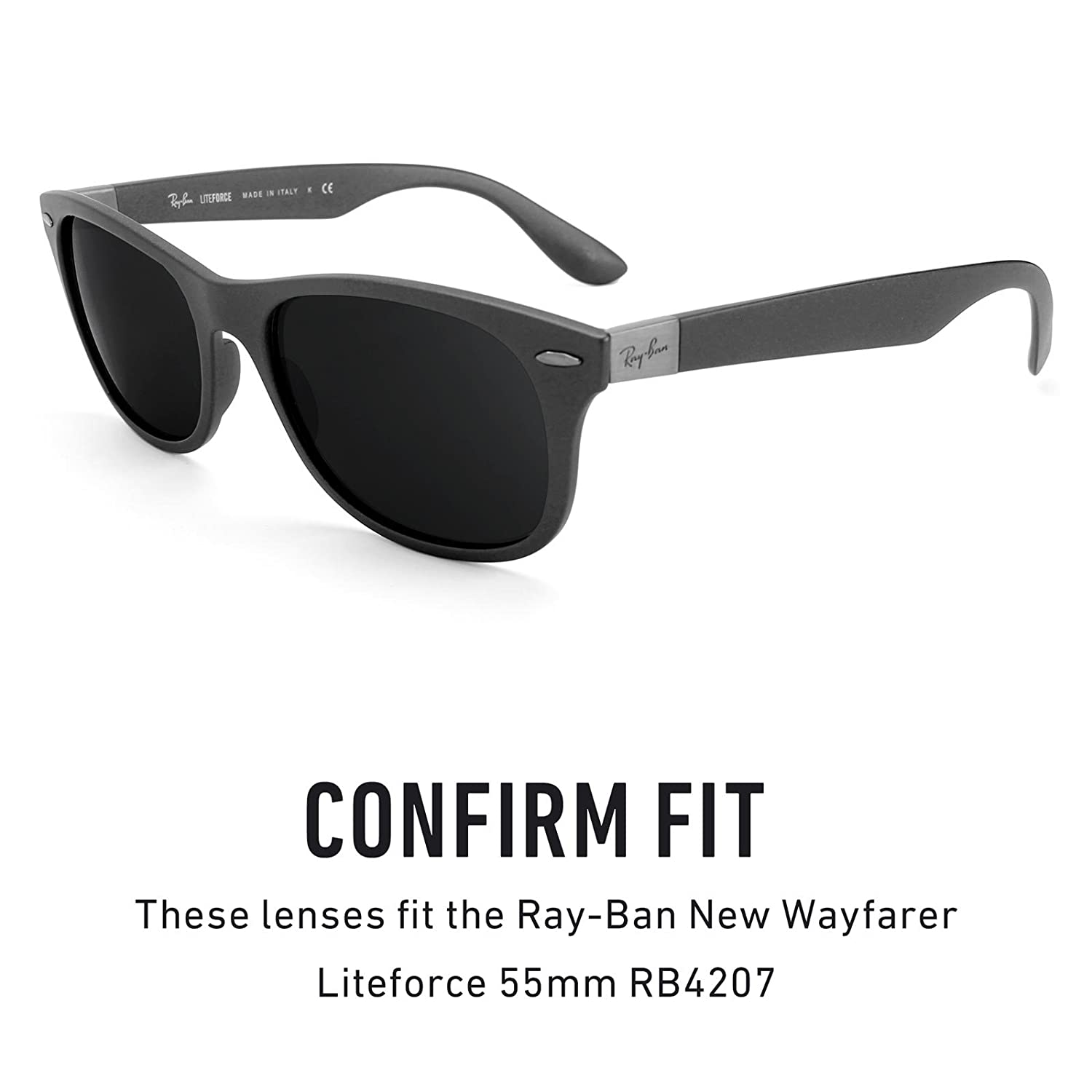 635f17dbf88e3 Revant Polarized Replacement Lenses for Ray Ban New Wayfarer Liteforce 55mm RB4207  Black Chrome MirrorShield at Amazon Men s Clothing store