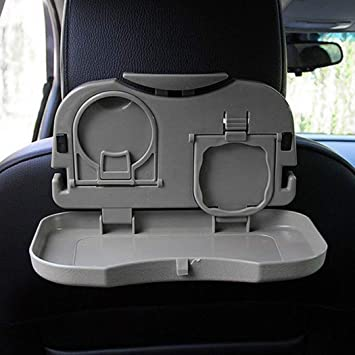 Black//Beige Auto Car Cup Holder Phone Food Meal Tray Desk Dining Box Gap Stands