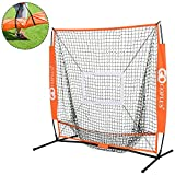 Goplus 5'×5' Baseball Net Softball Net Portable Large Mouth Net with Bow Frame & Carry Bag for Practice Hitting, Pitching, Batting, Fielding and Catching