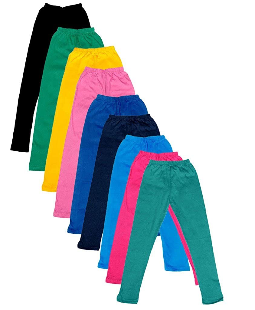 Indistar Big Girls Cotton Full Ankle Length Solid Leggings Pack of 9 -Multiple Colors-15-16 Years