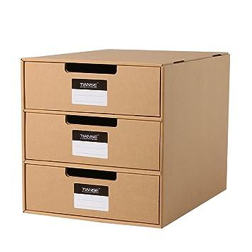 TIANSE Cardboard Drawer Box, Magazine Holder Desk Organizer With 3 Drawers,  9.65u0026quot; X