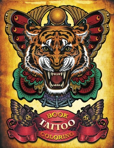 Tattoo Coloring Book: Handdrawn set of old school Tattoos Coloring Book Relaxing Inspiration