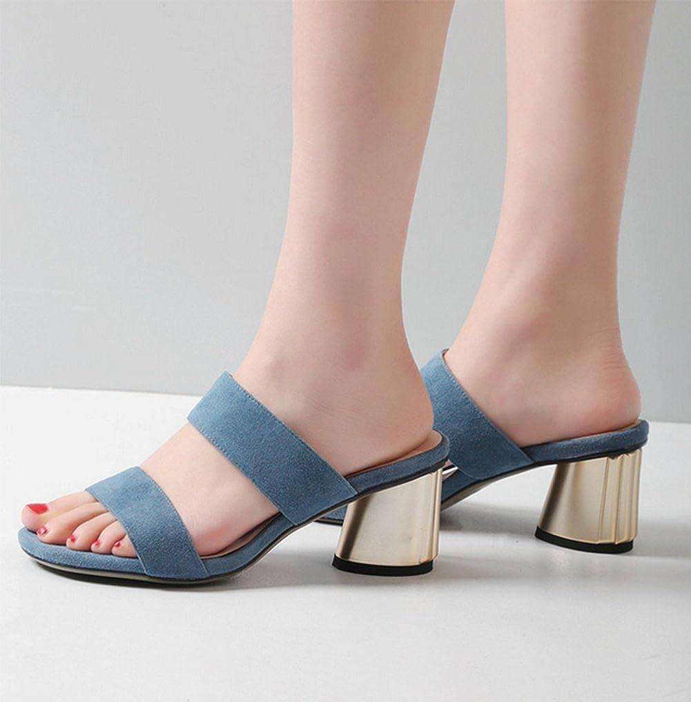 Ladies Stylish High Heel Slippers,Thick Round Head Dew Toe Sandal