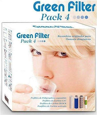 Green Filter - Kit de filtros de Agua purificador de ósmosis inversa, número 4 filtros para instalaciones ósmosis: Amazon.es: Hogar