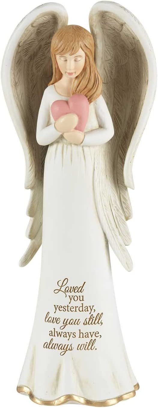 Dicksons Loved You Yesterday Angel with Heart Ivory 3.5 x 8 Resin Stone Tabletop Figurine