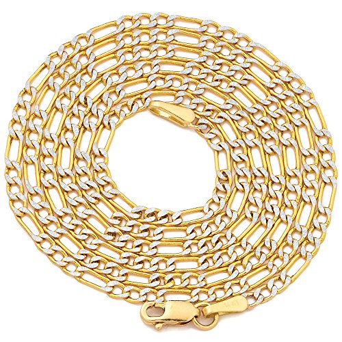 (Mr. Bling 14K Yellow Gold 2mm Solid Pave Two-Tone Figaro Chain Necklace Lobster Lock (24))