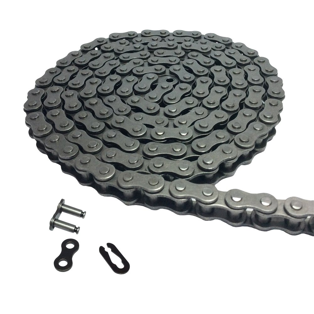 KOVPT 10Ft #40 Heavy Duty Roller Chain with 1 Connector Link for Go Kart, Mini Bike, Garage Gate Chain Replacements KANGNAN