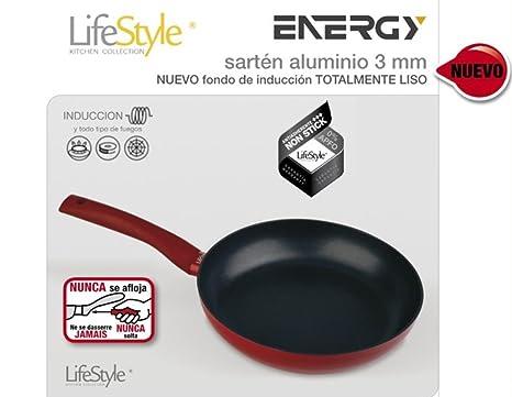 Life Style - Sarten de Aluminio Energy - 24 cms - Fondo Liso - Rojo: Amazon.es: Hogar