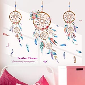 Dream Catcher Feathers Wall Decals Wall Stickers for Bedroom Wall Mural as Wall Decor for Living Room | 92cm x 96cm Removable Stickers for Walls Decoration as Housewarming Birthday Gift