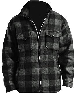 ea8470d6e Enjoybuy Mens Winter Fleece Fur Lined Hooded Wool Jacket Full Zip ...