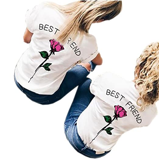 Best Friend T-Shirt Rose Floral Short Sleeve Funny Top Tumblr Graphic Tee at Amazon Womens Clothing store: