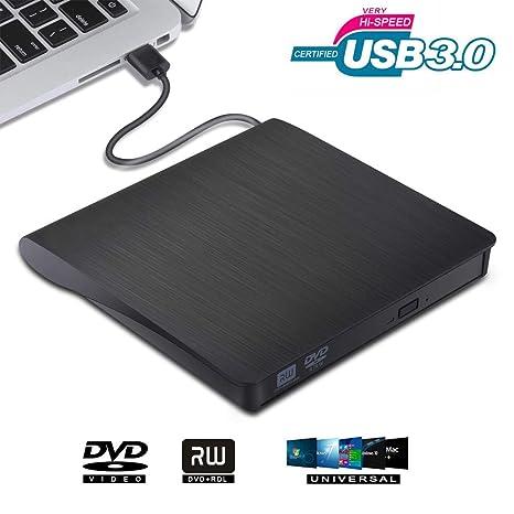 VGROUND Grabadora Lector CD DVD Externo, Ultra Slim Portátil Lector USB 3.0 Unidad de Disco