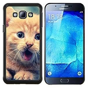 Lindo Gatito anaranjado- Metal de aluminio y de plástico duro Caja del teléfono - Negro - Samsung Galaxy A8 / SM-A800