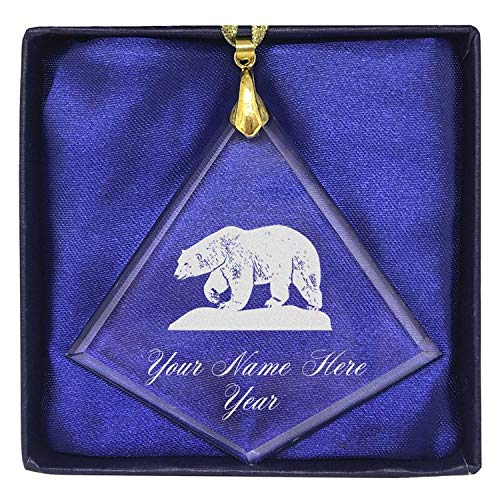 LaserGram Christmas Ornament, Polar Bear, Personalized Engraving Included (Diamond Shape)