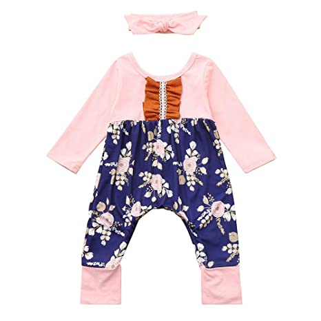 Autumn Girls Outfits,Fineser Kids Baby Girls Jumpsuit Romper+Headbands Infant Toddler 2Pcs Set Outfit Floral Long Sleeve