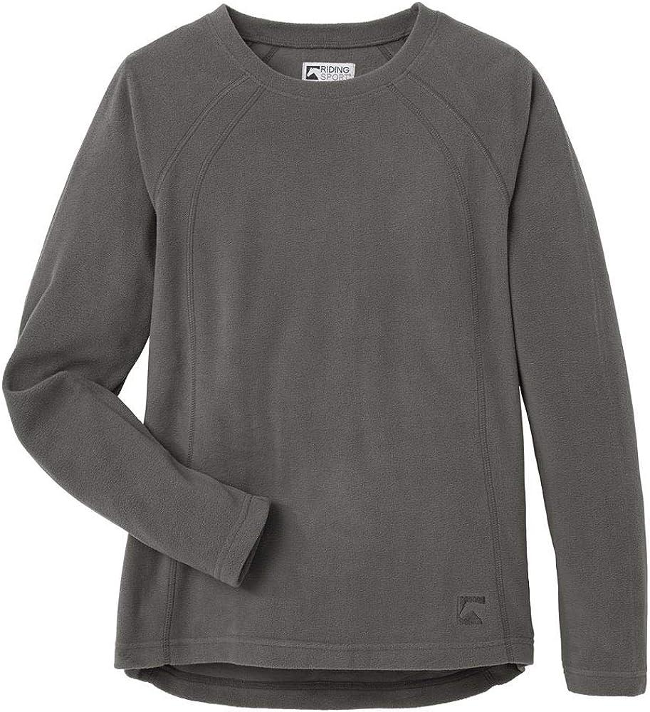 Dover Saddlery Riding Sport Ladies Fleece Crew Long Sleeve Shirt Dark Shadow Medium