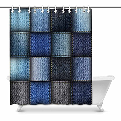 InterestPrint Modern Blue Jeans Patchwork Background Waterproof Polyester Fabric Shower Curtain Bathroom Sets with Hooks, 60(Wide) x 72(Height) Inches ()