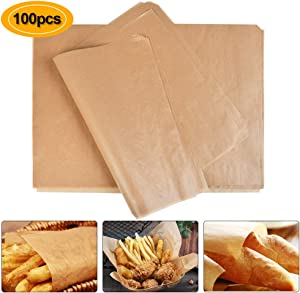 OFNMY Parchment Paper Baking Sheets, Set of 100 Unbleached Parchment Paper, Non-Stick, Dual-Sided Siliconized Coating Baking Parchment for Baking Grilling Air Fryer Steaming Bread Cup Cake Cookie