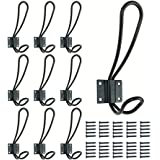 Rustic Metal Coat Hooks 10 Pack with 50Pcs Screws in, Black Wall Mounted Hooks, Double Vintage Hooks for Hanging, Decorative Farmhouse Entryway Hooks