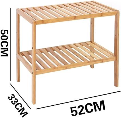 TLMY Estante de bambú de 2 Capas, Estante de Almacenamiento de Madera Maciza de la Sala de Estar, estantería Simple for el Piso del baño, Estante de Flores Huecas, L36cm X W33cm