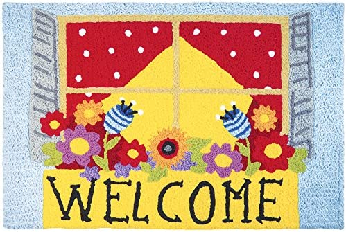Jellybean Welcome Window Box Garden Indoor Outdoor Machine Washable 21 x 33 Accent Rug